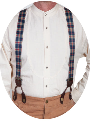 Scully Rangewear Mens Beige Elastic Steel Bright Plaid Suspenders