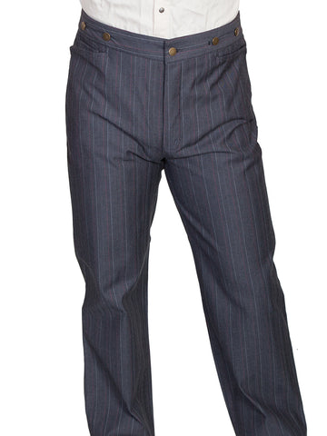 Scully Rangewear Mens Grey 100% Cotton Button Fly Striped Pants