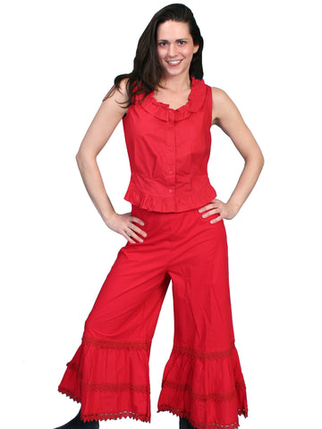 Scully RangeWear Womens Red 100% Cotton Ruffle Crochet Lace Pants Bloomers