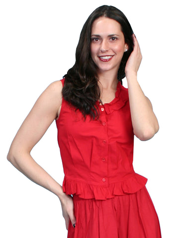 Scully Rangewear Womens Red 100% Cotton Ruffle Camisole