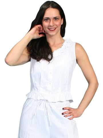 Scully Rangewear Womens White 100% Cotton Ruffle Camisole