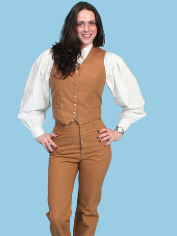 Scully RangeWear Womens Tan 100% Cotton Canvas Western USA Vest