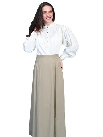 Scully RangeWear Womens Tan 100% Cotton Pleated Full Length Five Gore Skirt