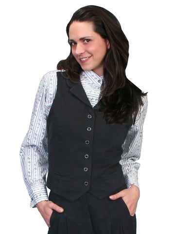 Scully RangeWear Womens Black 100% Cotton Notched Lapel Victorian Vest
