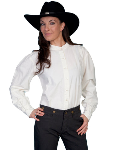Scully RangeWear Womens Ivory 100% Cotton Western L/S Ranch Style Blouse