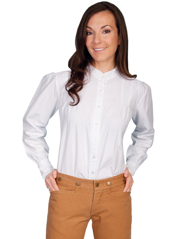 Scully RangeWear Womens White 100% Cotton Western L/S Ranch Style Blouse