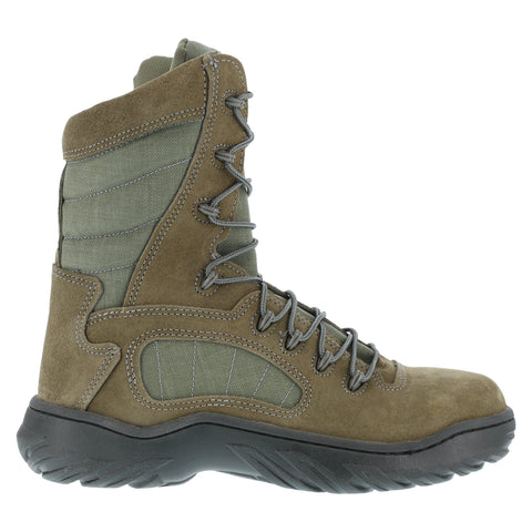 Reebok Mens Sage Green Leather Tactical Boots Fusion Max 8in Steel Toe