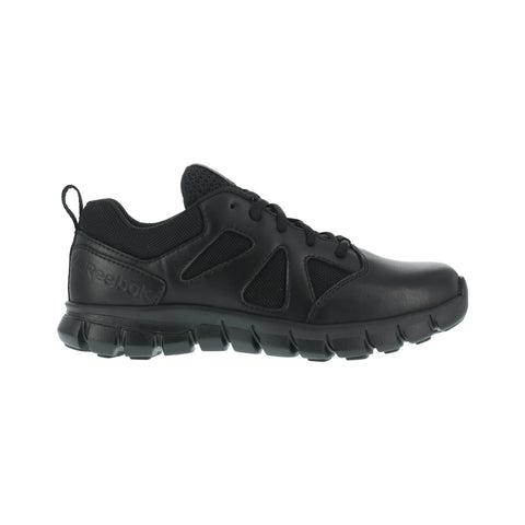 Reebok Mens Black Leather Work Shoes Soft Toe Oxfords