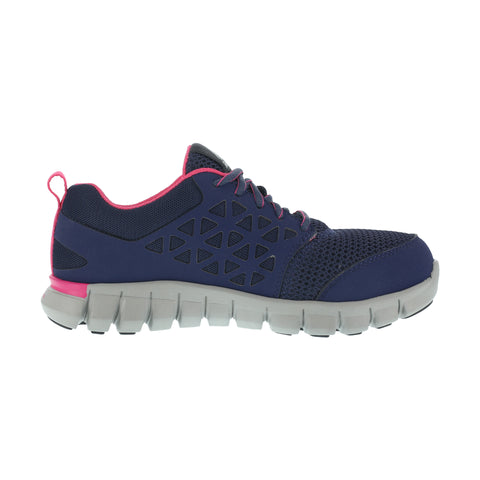 Reebok Womens Navy & Pink Mesh Work Shoes Alloy Toe Oxfords