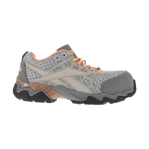 Reebok Womens Grey Micro Mesh Athletic Oxford Beamer Composite Toe