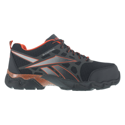 Reebok Mens Black/Red Micro Mesh Athletic Oxford Beamer Composite Toe