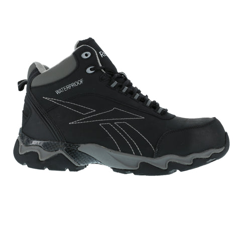 Reebok Mens Black Leather WP Athletic Hiker Boots Beamer Composite Toe