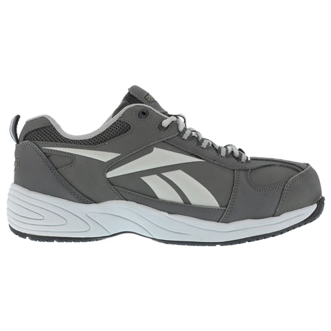 Reebok Mens Grey Leather Street Sport Jogger Oxford Jorie Comp Toe