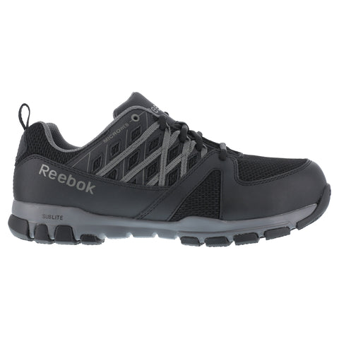 Reebok Mens Black Leather Work Shoes Athletic Oxford Steel Toe Sublite