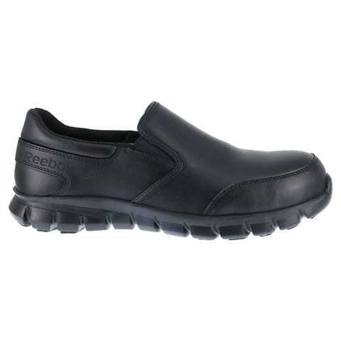 Reebok Mens Black Leather Work Shoes Slip-On ESD Comp Toe