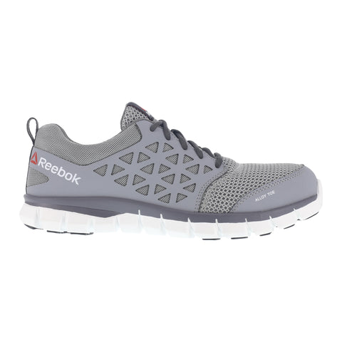 Reebok Mens Grey Mesh Work Shoes Alloy Toe Oxfords