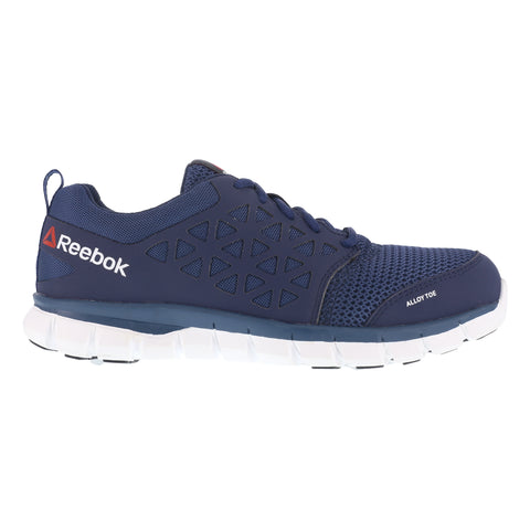 Reebok Mens Navy Mesh Work Shoes Alloy Toe Oxfords
