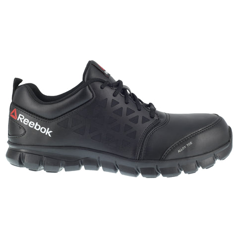 Reebok Mens Black Leather Work Shoes Sublite Oxford