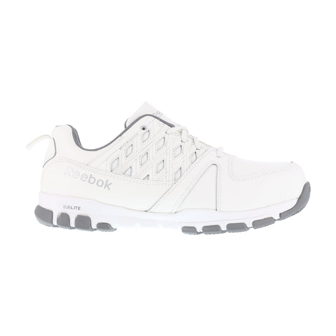 Reebok Mens White Leather Work Shoes ST Sublite Athletic