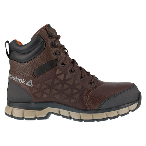 Reebok Mens Brown Leather Work Boots 6in Athletic CT