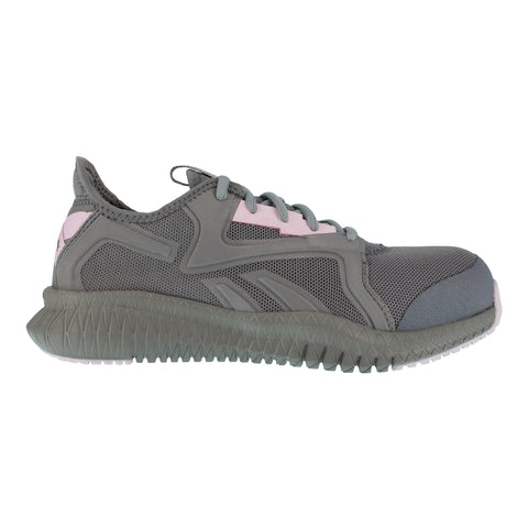 Reebok Womens Grey/Pink Textile Work Shoes Flexagon Athletic CT EH