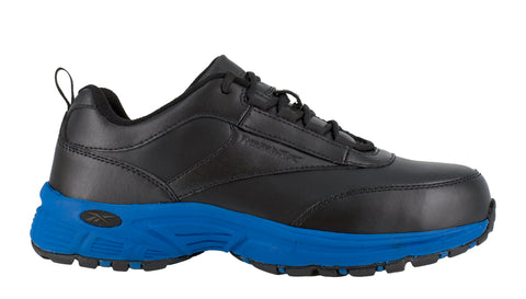 Reebok Mens Black/Blue Leather Athletic Work Oxford Ateron Steel Toe