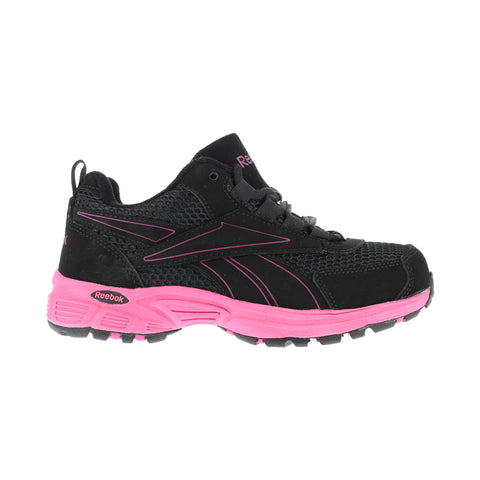 Reebok Womens Black/Pink Suede Mesh Athletic Oxford Ateron Steel Toe