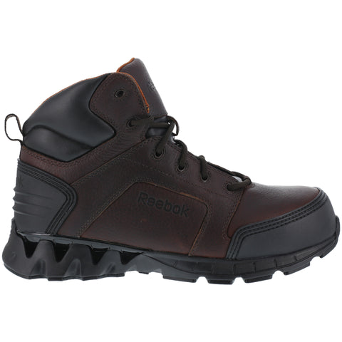 Reebok Mens Brown Leather Work Boots Athletic 6in Zigkick Comp Toe