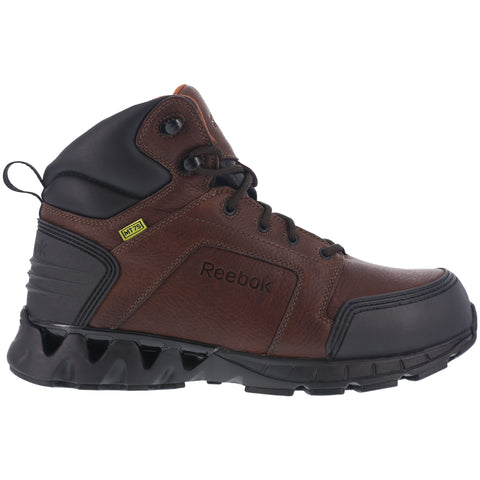 Reebok Mens Brown Leather Work Boots CT Zigkick LaceUp