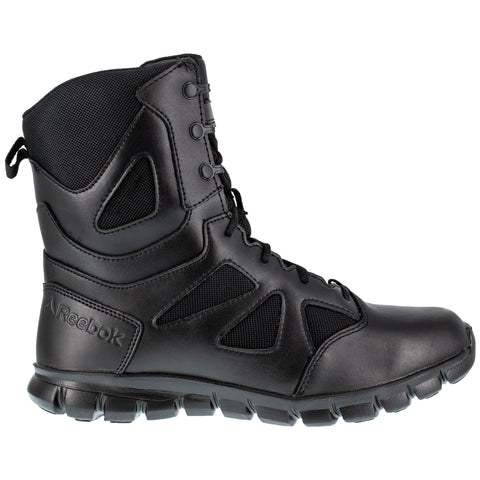 Reebok Mens Black Leather Military Boots Sublite Tactical Zip