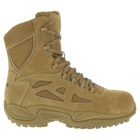 Reebok Mens Coyote Leather Tactical Boots Rapid Response 8in Stealth CT
