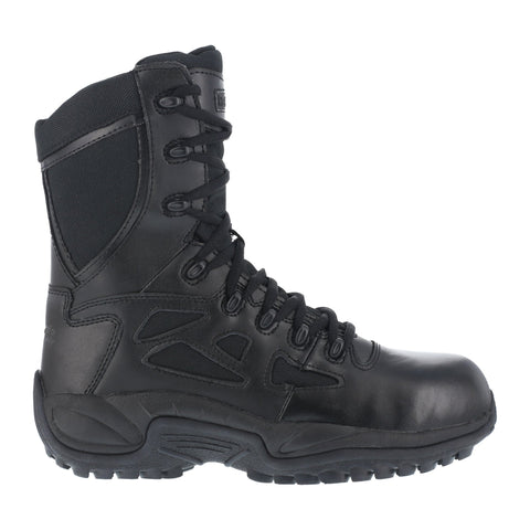 Reebok Mens Black Leather Tactical Boots Rapid Response RB Soft Toe