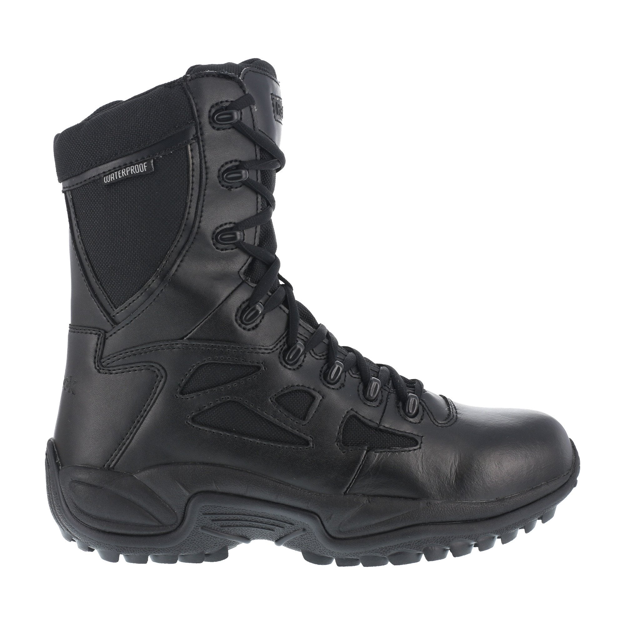 133d69aa0f0 Reebok Mens Black Leather WP Tactical Boots Rapid Response RB Soft ...