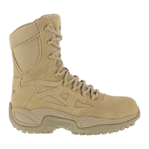 Reebok Mens Tan Suede Nylon Tactical Boots Rapid Response RB Soft Toe