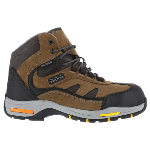 Rockport Mens Brown WP Leather Sport Hiker Boots Propel Composite Toe