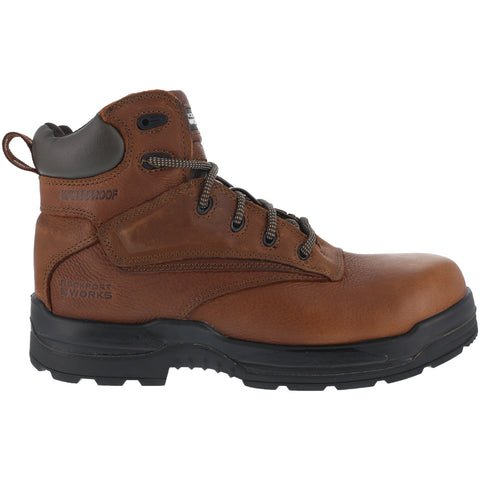 Rockport Womens Deer Tan WP Leather Work Boots More Energy Comp Toe
