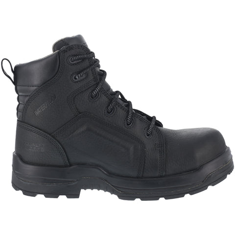 Rockport Mens Black Leather Work Boots 6in More Energy CT