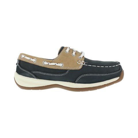 Rockport Womens Navy Leather Boat Shoes Sailing Club Steel Toe