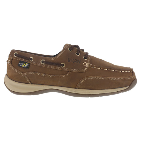 Rockport Mens Brown Leather Work Shoes MetGuard ST SlipOn Sailing