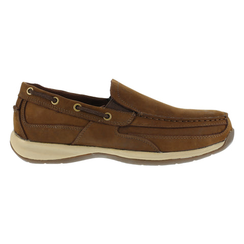 Rockport Mens Brown Leather Slip On Boat Shoes Sailing Club Steel Toe