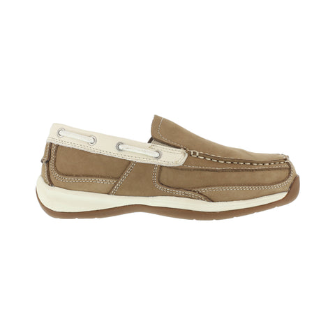 Rockport Womens Tan Leather Casual Boat Shoes Sailing Club Steel Toe