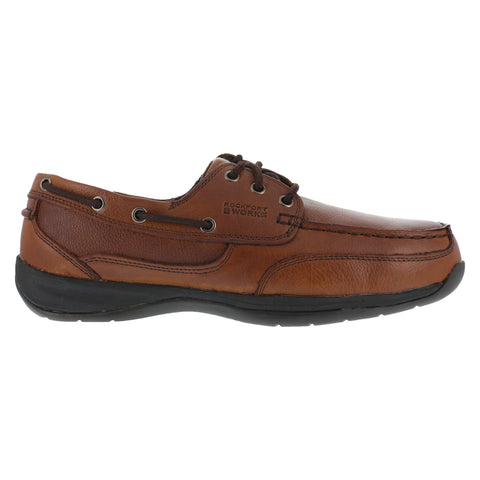 Rockport Mens Dark Brown Leather Boat Shoes Sailing Club Steel Toe
