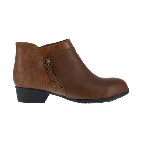 Rockport Womens Brown Leather Work Boots Carly Bootie AT