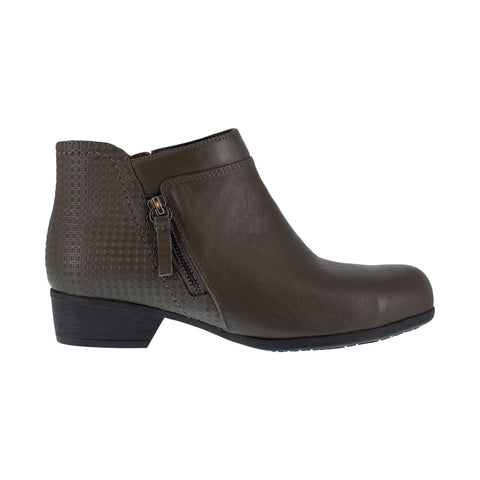 Rockport Womens Black Leather Work Boots Carly Bootie AT