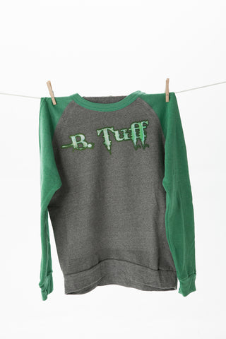 B Tuff Mens Green/Gray Cotton Blend Sweatshirt Fleece