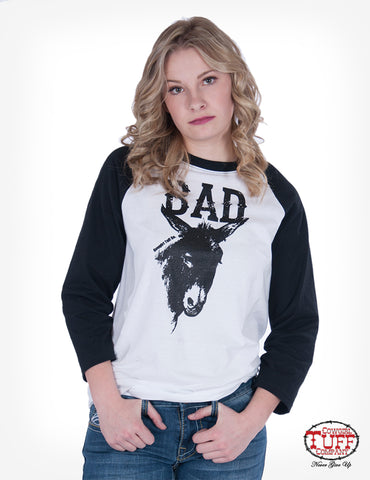 Cowgirl Tuff Womens Black/White Cotton Blend T-Shirt Bad Ass L/S