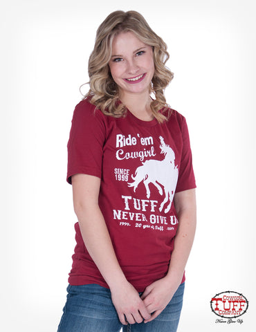 Cowgirl Tuff Womens Red 100% Cotton T-Shirt 20th Anniversary S/S