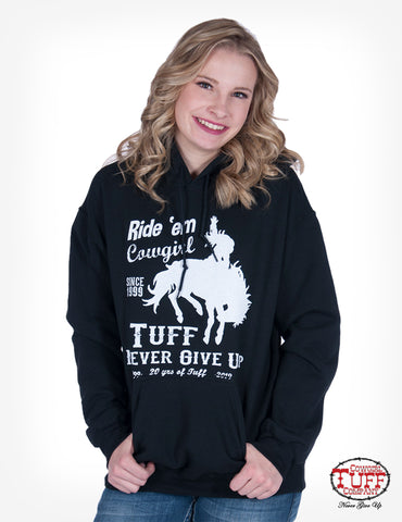Cowgirl Tuff Womens Black Cotton Blend Hoodie 20th Anniversary
