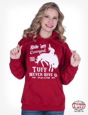 Cowgirl Tuff Womens Red Cotton Blend Hoodie 20th Anniversary