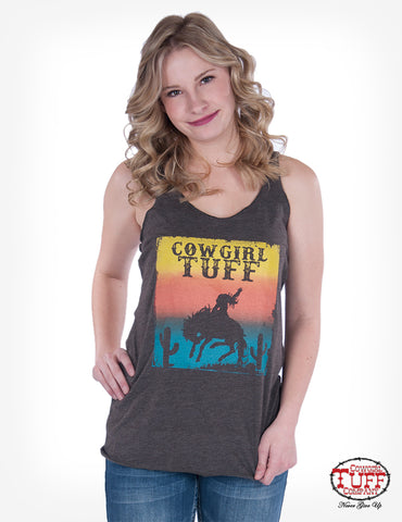 Cowgirl Tuff Womens Brown Cotton Blend Tank Top Sunset S/L